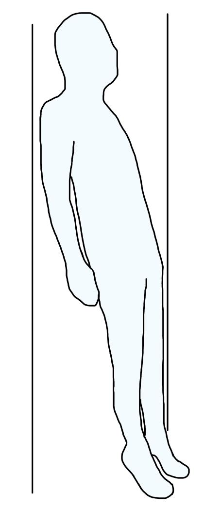 壁に持たれての下腿三頭筋筋力トレーニング
